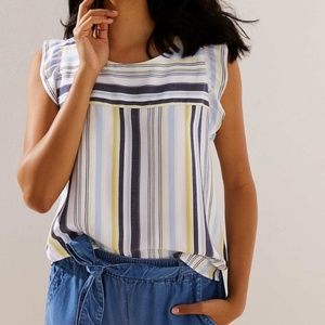 Striped Button Back Shell